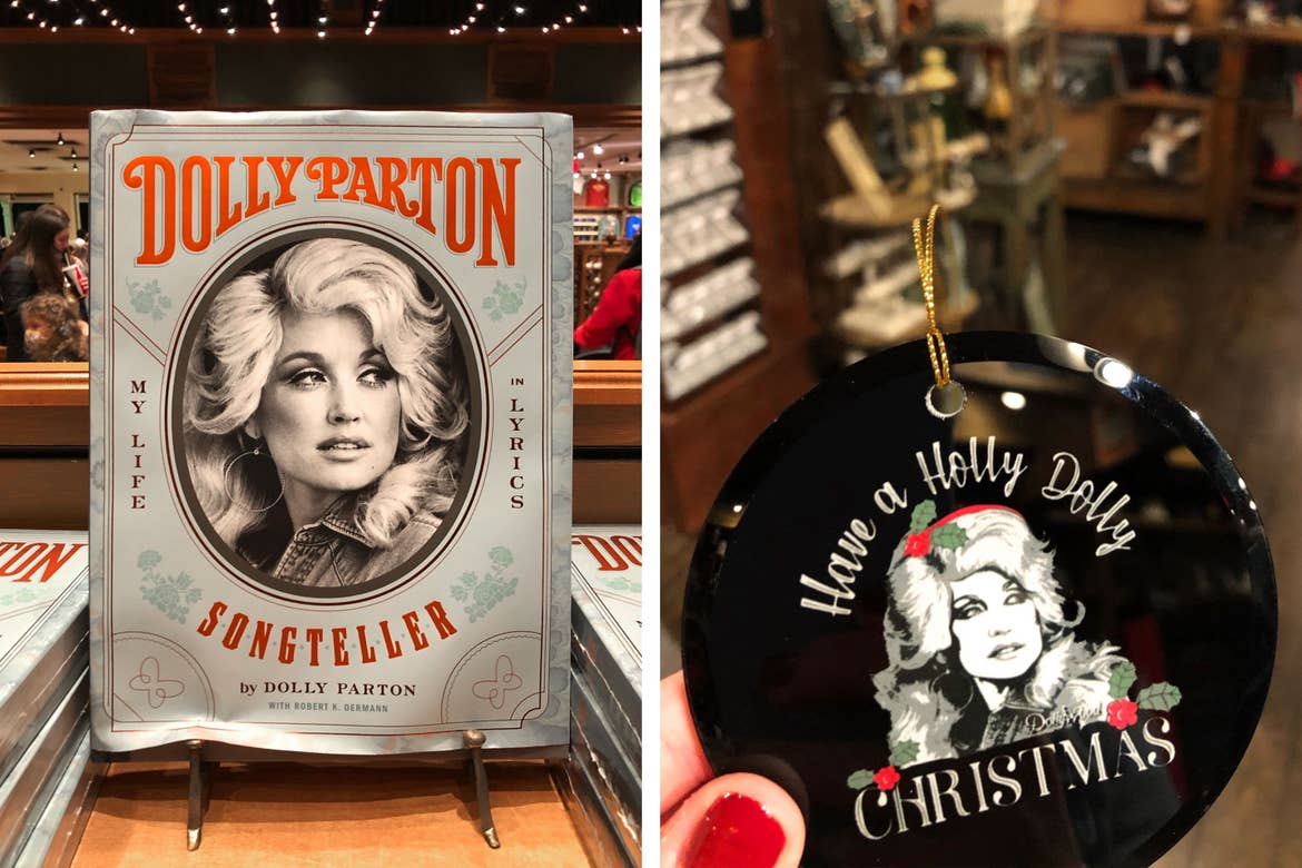 Left: A book on a stand titled, 'Dolly Parton, Storyteller, My Life in Lyrics.' Right: A black ornament with a 'festive' Dolly portrait that reads 'Have a Holly Dolly Christmas.'