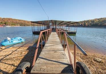 Boat dock at Ozark Mountain Resort in Kimberling City, Missouri