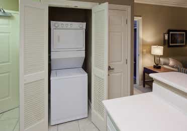 In-unit washer and dryer in a two-bedroom villa at Galveston Beach Resort