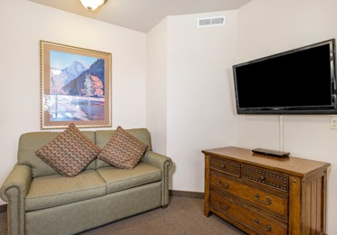 Living area in a Ridge Pointe studio villa at Tahoe Ridge Resort