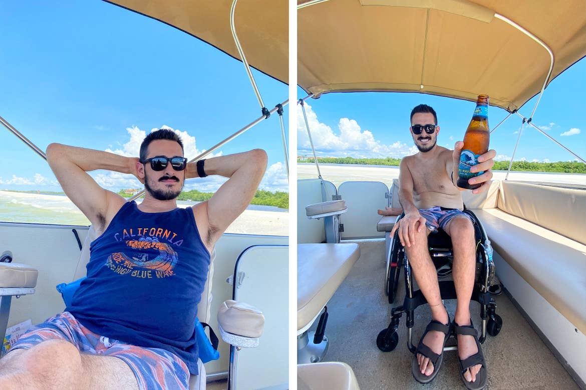 Left: Featured Contributor, Danny Pitaluga wears sunglasses, a blue tank and swim trunks while kicking back on a boat. Right: Danny holds a beer while seated in his wheelchair on a boat.