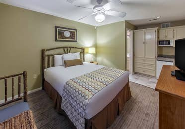 Bedroom with amenities in a three-bedroom ambassador villa at the Hill Country Resort in Canyon Lake, Texas.