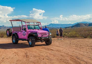 People standing outside of a pink jeep in the desert
