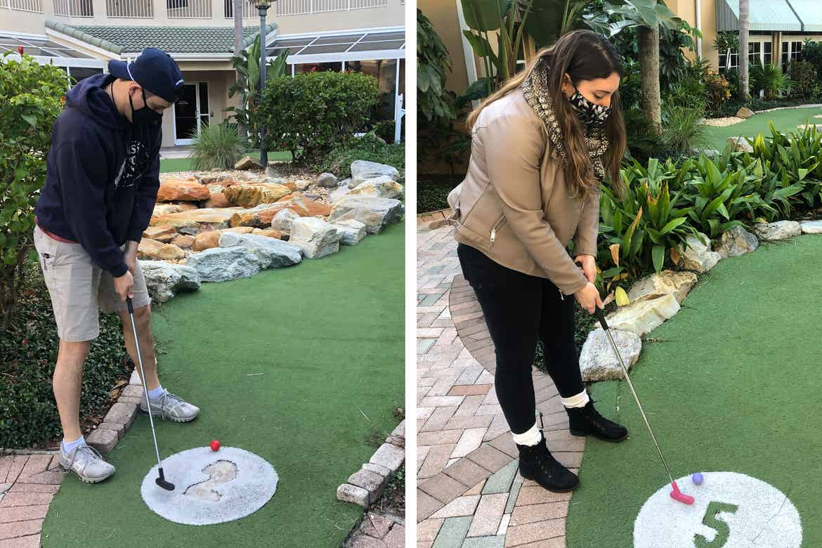 Left: Featured contributor and Checking In editor, Tori Ferrante (right), and her husband, Brooks (left) wear masks while playing mini golf at our Cape Canaveral Beach resort in Cape Canaveral, Florida.