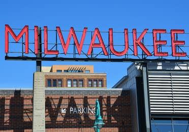 Milwaukee sign at the public market near Lake Geneva Resort, Lake Geneva, WI.