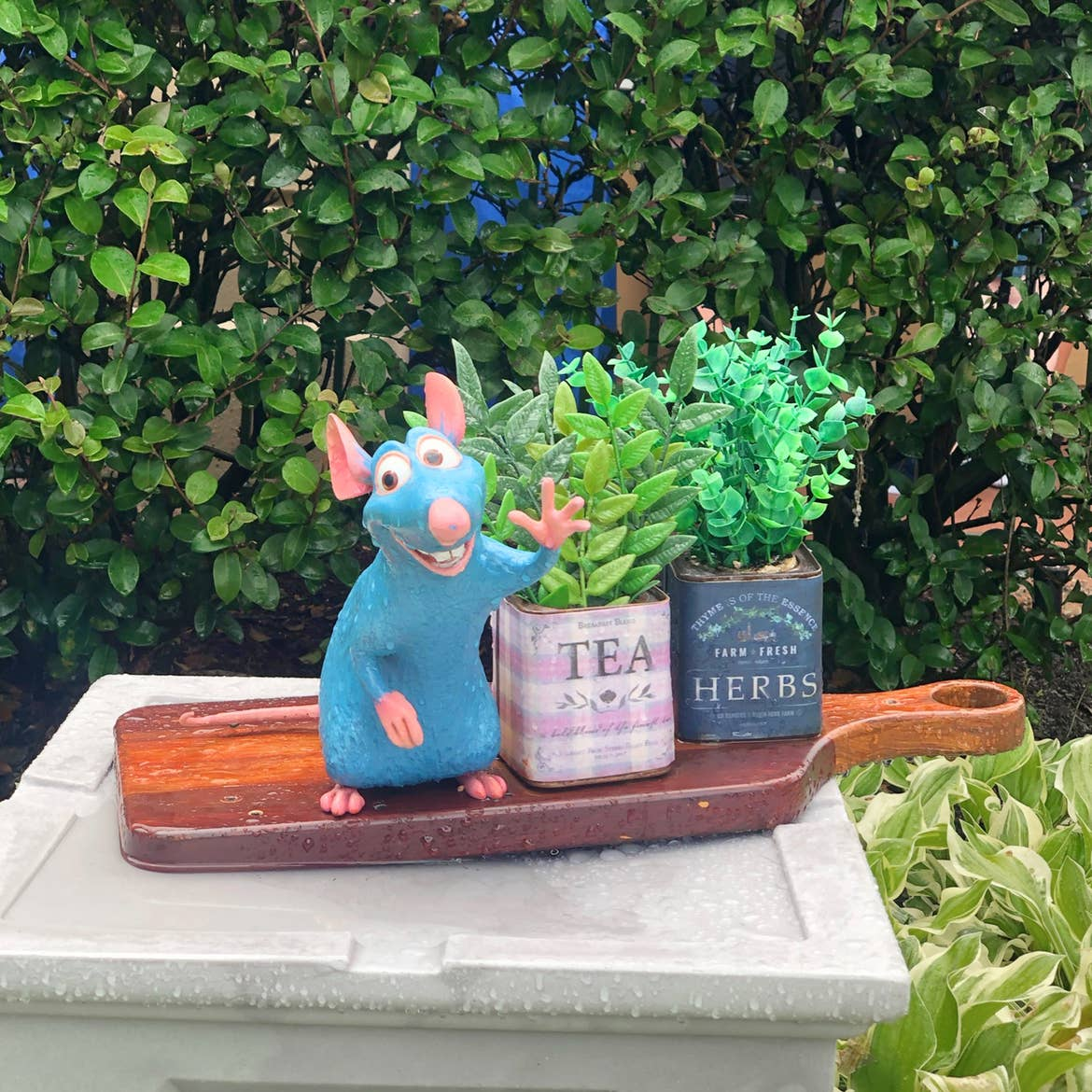 A Remy figurine stands next to canisters that read, 'Tea Leaves' and 'Herbs' near shrubbery.