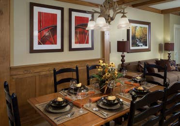 Dining room table in a villa at Smoky Mountain Resort in Gatlinburg, Tennessee.