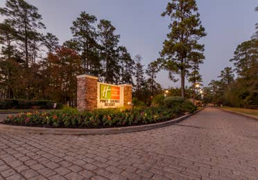 Property signage at Piney Shores Resort in Conroe, Texas