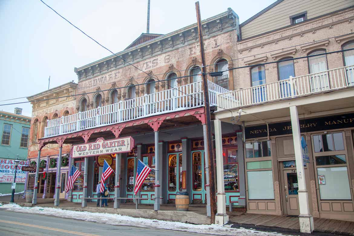 Old West mercantile exteriors in Virginia City, NV.