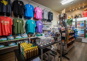 Marketplace with souvenirs, t-shirts, mugs, sunblock, snacks and drinks at Villages Resort in Flint, Texas