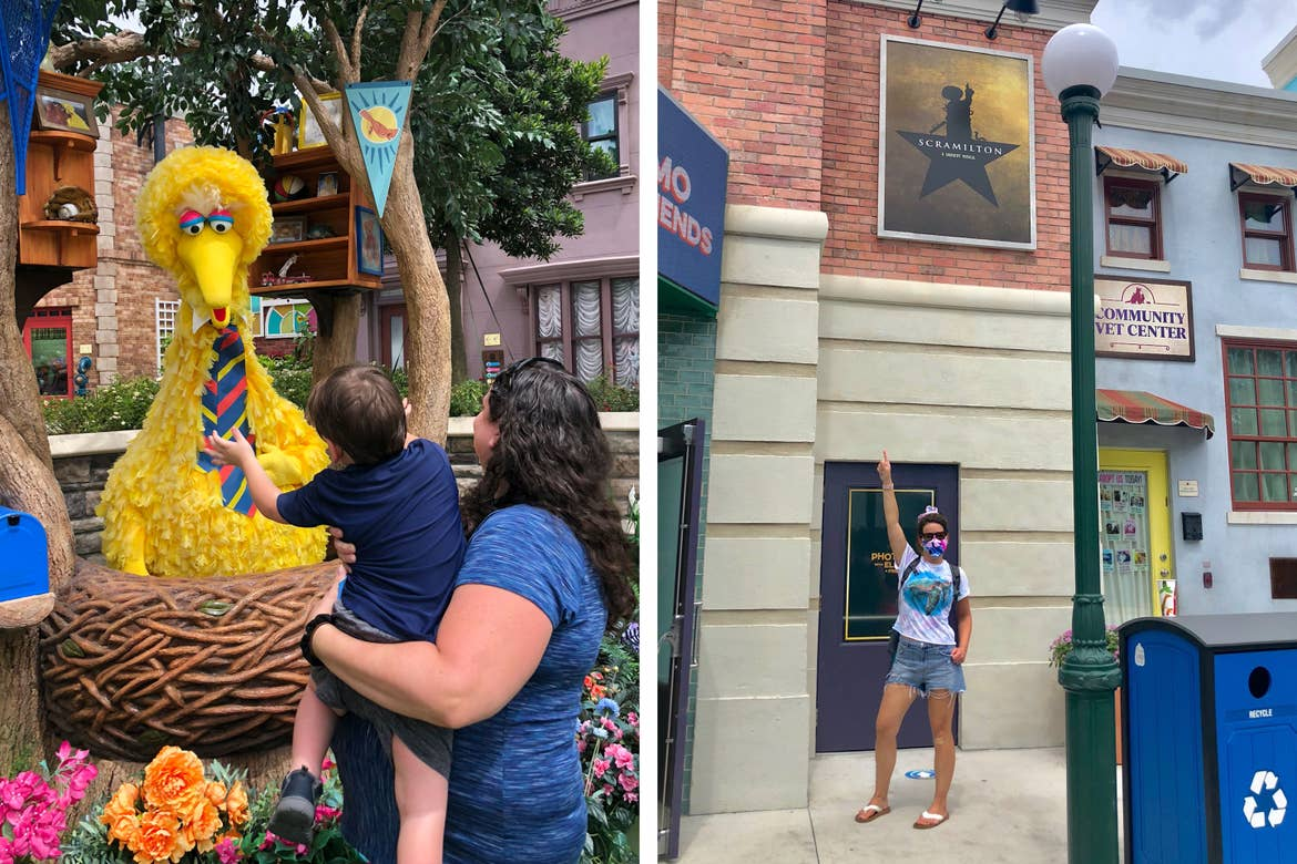 Left: Theresa holds Dakota as he reaches to embrace Big Bird in his nest. Right: Jennifer strikes a pose under a 'Scramilton' theater poster with one hand up in the air.