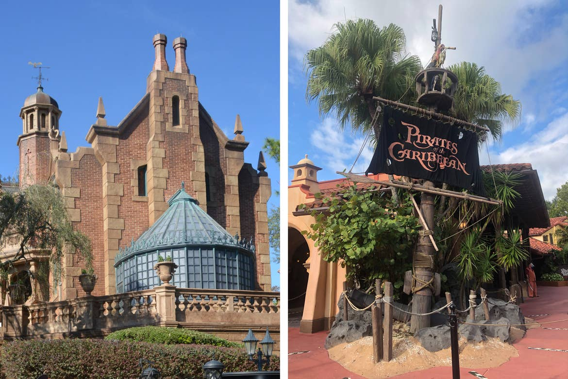 Left: The exterior of the Haunted Mansion under a blue sky in Magic Kingdom at Walt Disney World resort. Right: The exterior of the Pirates of the Caribbean queue under a cloudy-blue sky in Magic Kingdom at Walt Disney World resort.