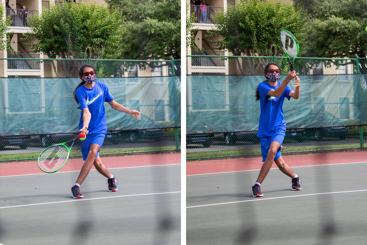 Left: Roan prepares for an incoming shot. Right: Roan swings his racket.
