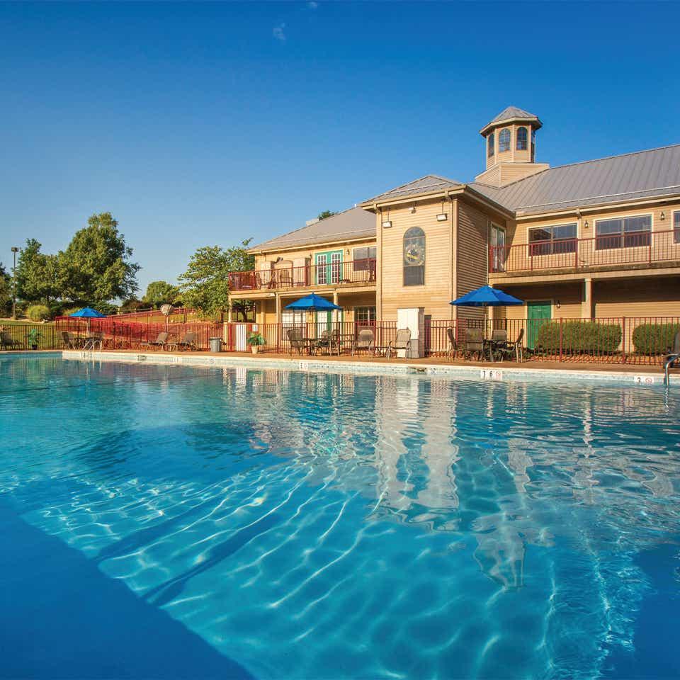 Outdoor pool at Timber Creek Resort in De Soto, Missouri.