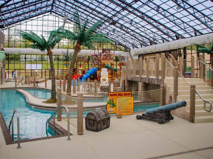 Water feature in Pirate's Cay Indoor Waterpark at Fox River Resort in Sheridan, Illinois.