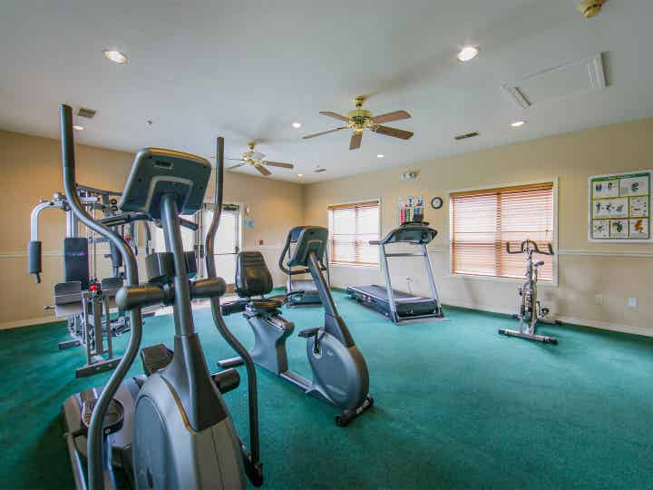 Fitness Center with ellipticals, stationary bikes and treadmills at Holiday Hills Resort in Branson, Missouri.