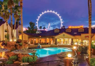 Outdoor pool with view of The LINQ® at Desert Club Resort in Las Vegas, Nevada.