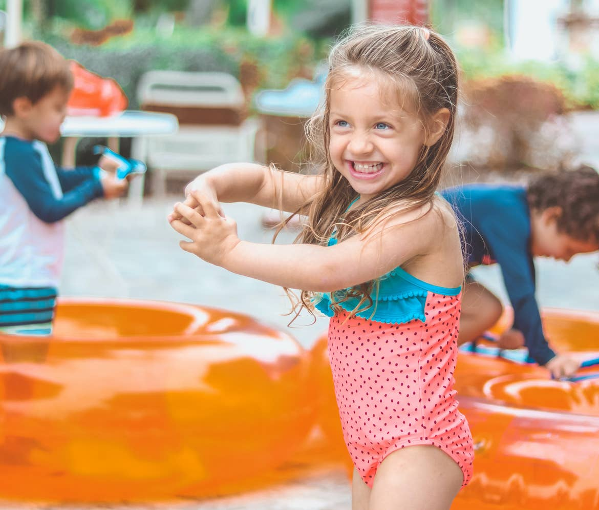 Raff's kids getting their tubes ready for the pool and lazy river at Orange Lake Resort in Orlando, Florida.