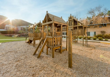 Wooden jungle gym on the property of the Oak n' Spruce Resort in South Lee, Massachusetts