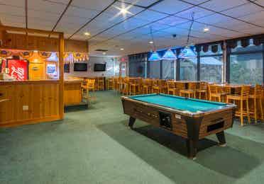 Pool table in Beartree Bar at Oak n Spruce Resort in South Lee, Massachusetts.