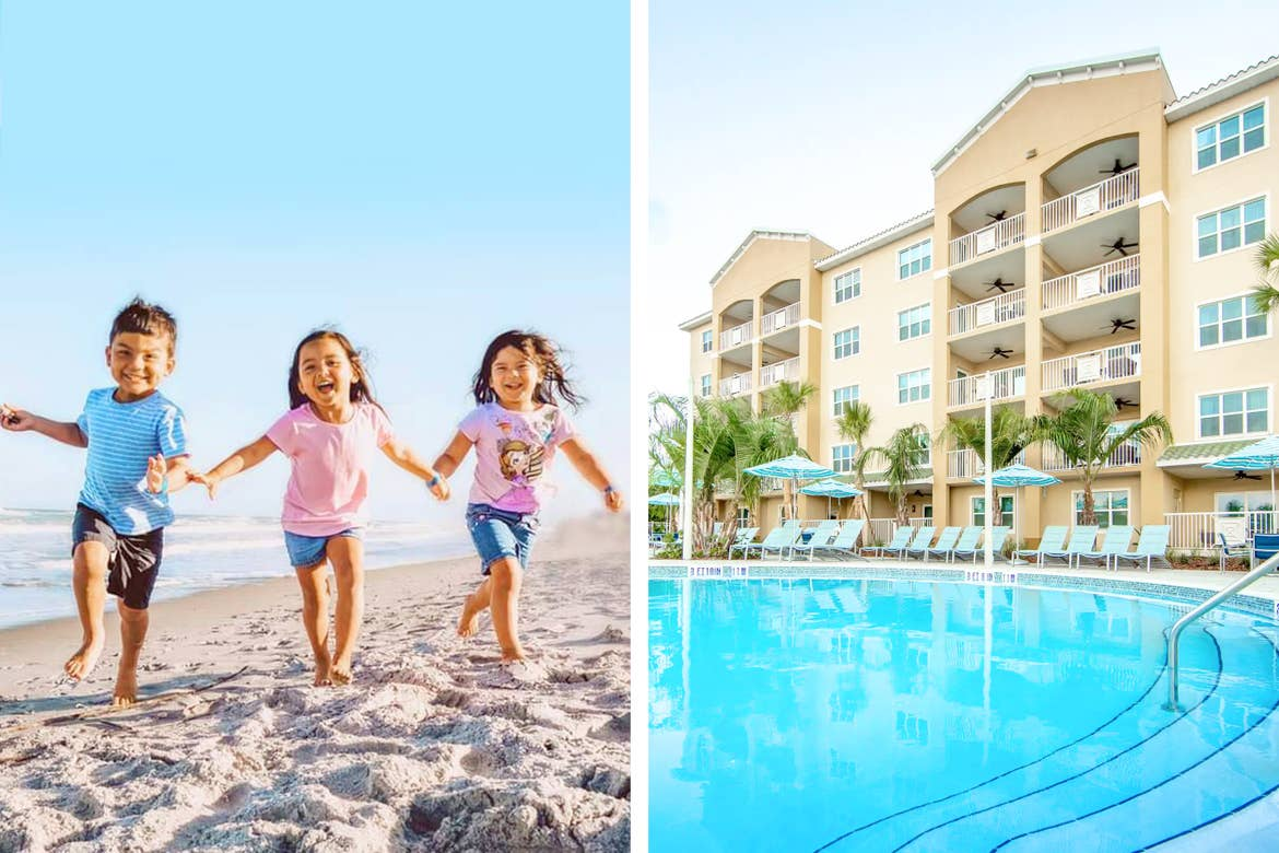 Left: Featured Contributor, Angelica Kajiwara's three children run on the beach under a blue sky as waves roll onto the sand. Right: Outdoor pool at Cape Canaveral Resort