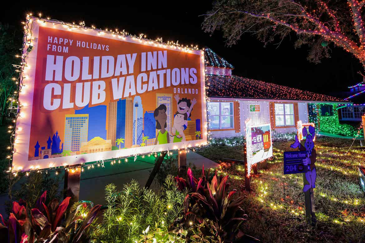 An exterior shot of our HICV villa decorated for the 'Night of a Million Lights' event complete with oversized travel postcards.