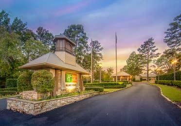 Villages Resort sign at the entrance of the resort in Flint, TX