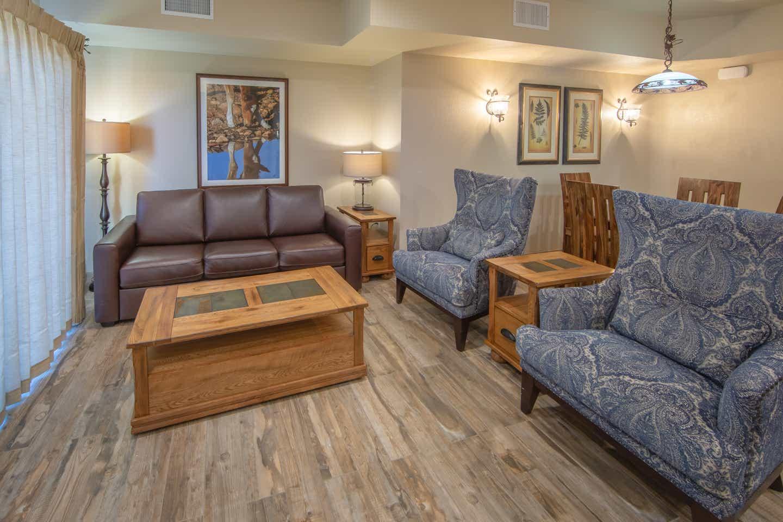 Living area in an upgraded one-bedroom villa at David Walley's Resort in Genoa, Nevada