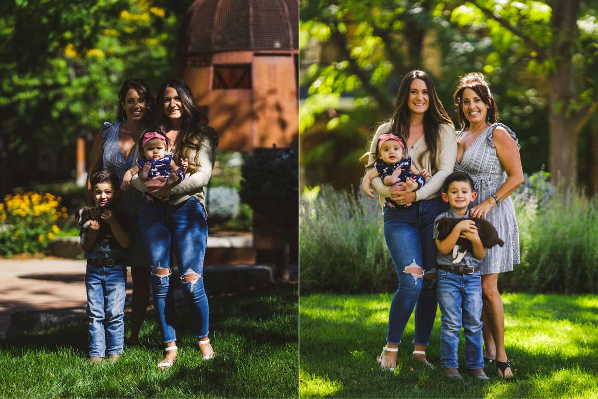 Left: A family stands in an environment that has naturally darker lighting conditions. Right: The same family now stands in a new location with better natural lighting conditions.