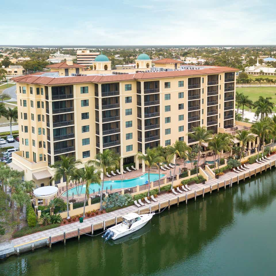 Aerial view of Sunset Cove Resort in Marco Island, FL.