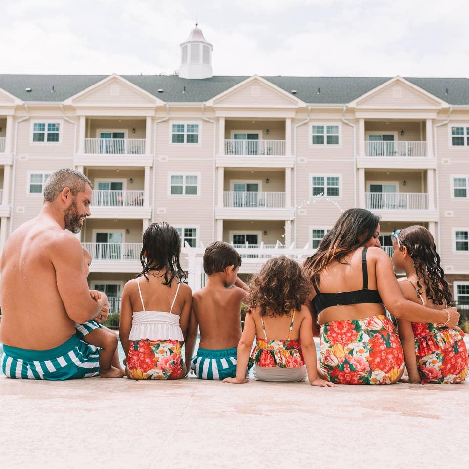 Family enjoying the pool at Williamsburg Resort