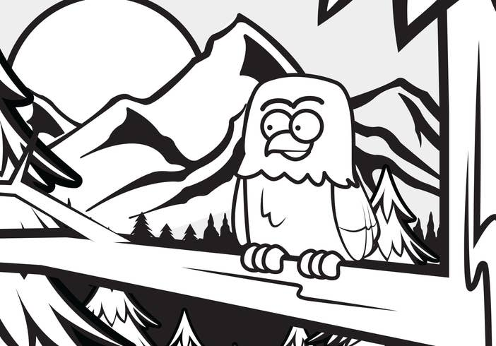 Owl sitting on a branch in the mountains coloring sheet