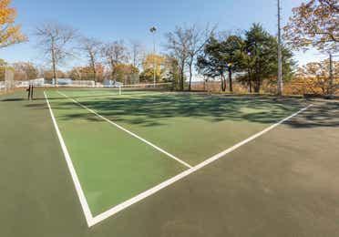 Outdoor tennis court at Ozark Mountain Resort in Kimberling City, Missouri