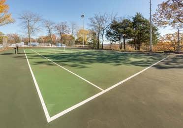 Outdoor tennis court at Ozark Mountain Resort in Kimberling City, Missouri.