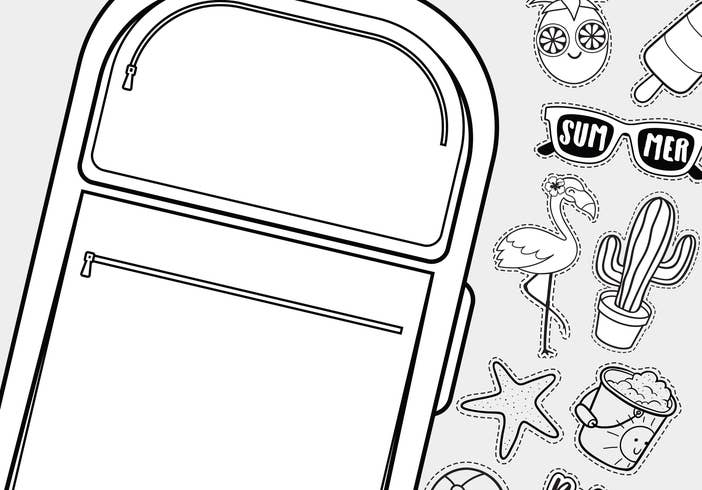 A coloring sheet featuring a large piece of luggage with summer items scattered around it