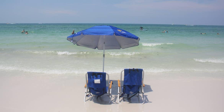 Beach chairs on Siesta Key Beach