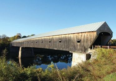 An exterior view of Cornish Windsor Bridge near Brownsville, VT