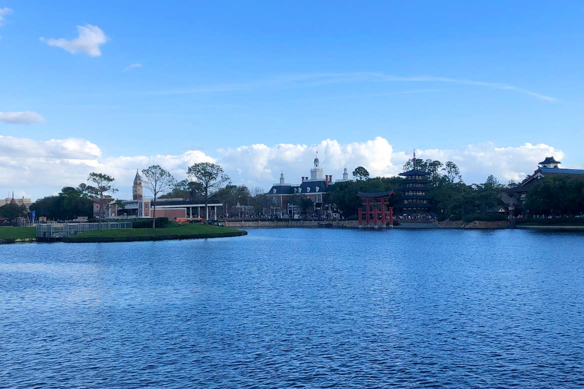 A view of the Japan (right), America (middle), and Italy (left) pavilions in EPCOT World Showcase at Walt Disney World Resort.