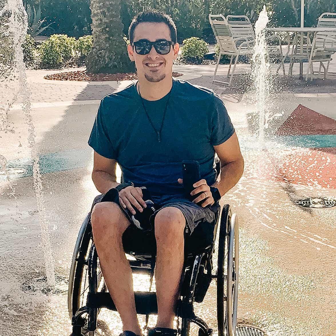 Danny Pitaluga on the splash pad at Orange Lake Resort