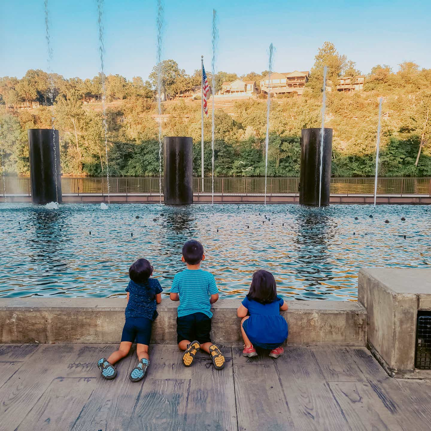 Angelica's kids at the fountain show