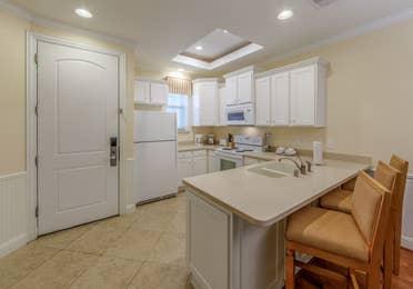 Kitchen in a two-bedroom presidential villa at Galveston Seaside Resort