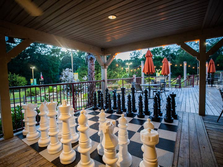 Giant chess board at Activity Center at Villages Resort in Flint, Texas