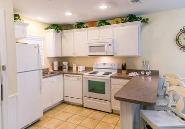 Kitchen in a villa at Orlando Breeze Resort.