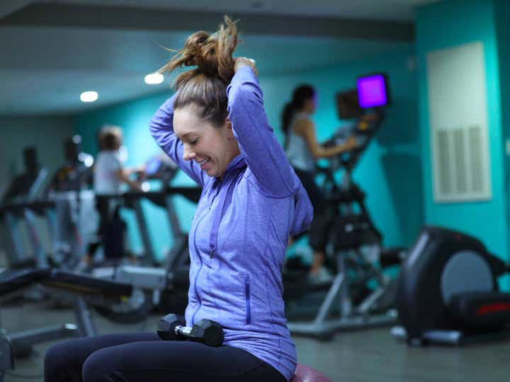 Guest working out at fitness center at Orange Lake Resort near Orlando, Florida