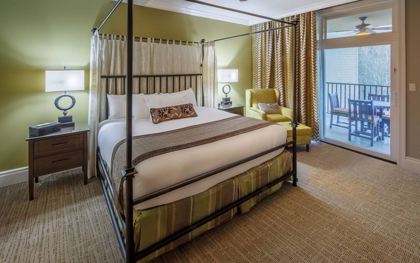 Bedroom with a balcony at Smoky Mountain Resort in Gatlinburg, Tennessee.