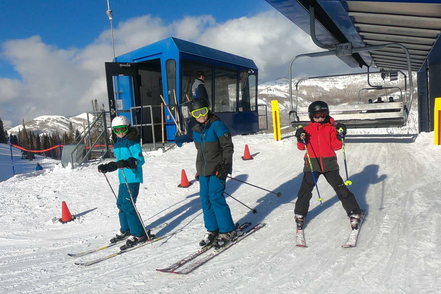 Jessica's children come off the ski lift ready to make their way down the slopes.