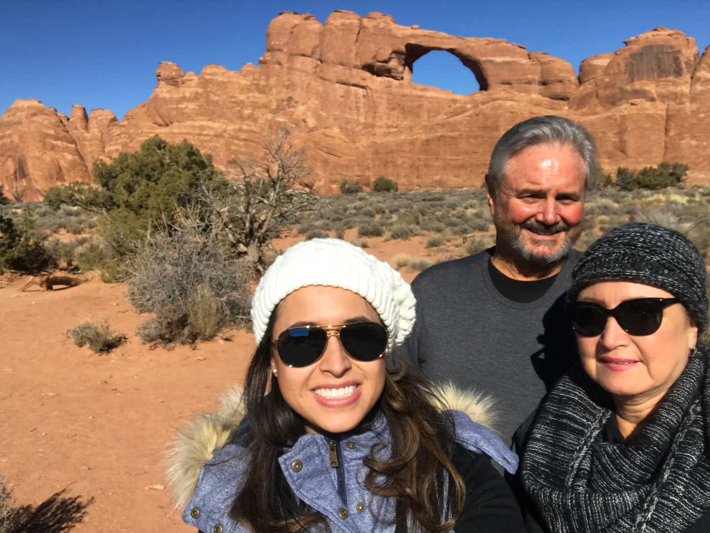Andrea and her family at Arches National Park in Utah
