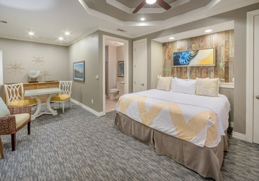 Master bedroom in a two-bedroom Signature Collection villa at Galveston Seaside Resort