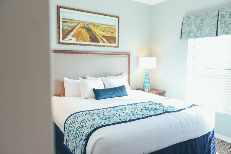 Closeup of bed in a villa in River Island at Orange Lake Resort near Orlando, Florida