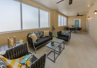 The balcony in a four-bedroom Signature Collection villa at Cape Canaveral Resort